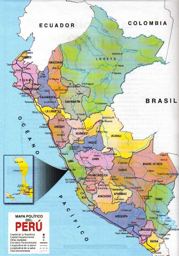 Mapa Fisico Politico America Del Sur