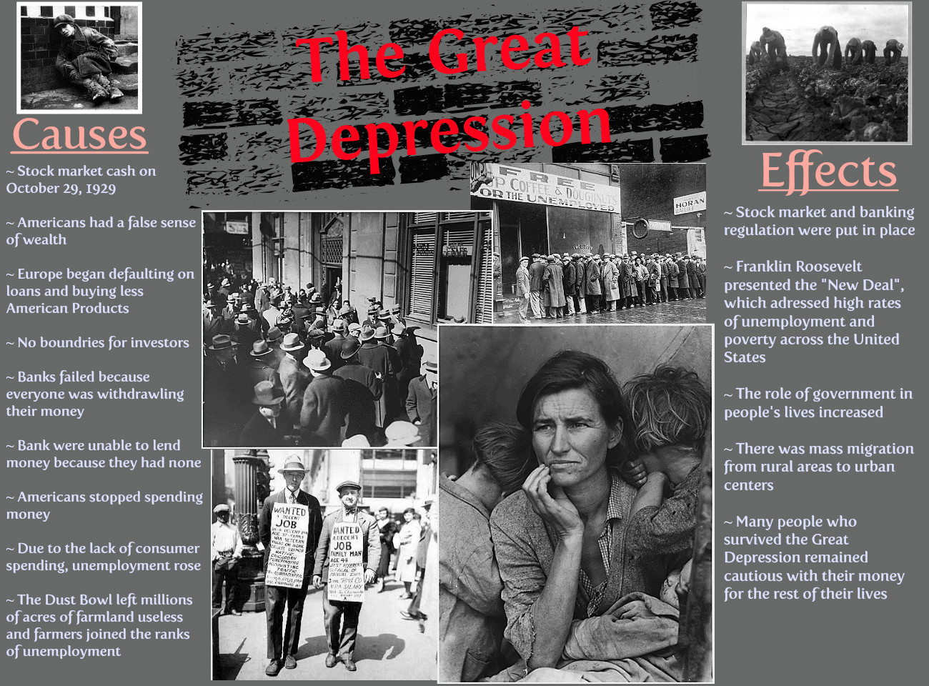 Essay on causes and effects of great depression
