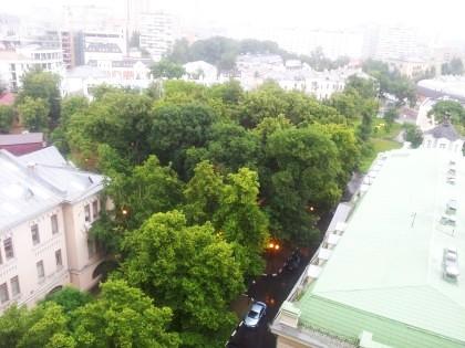 Слева - Третьяковская богадельня. Справа - Гурьевская. На заднем плане слева за деревьями - Солодовниковская богадельня, справа - Александровская больница