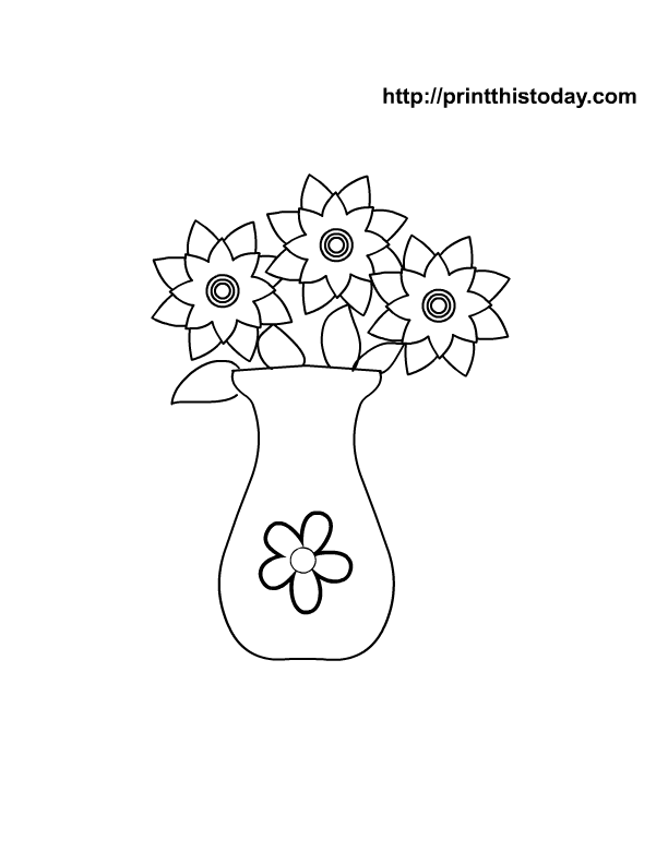 flower vase coloring page. Download HD Flower Vase Coloring Page  HQ Posters Desktop High Resolution