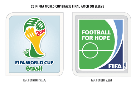 Graphic Ironed on the FIFA 2014 World Cup final patch is for the right slee