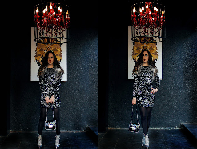 ONLY Black and Silver Sequin Dress, ONLY Autumn/Winter 2015, Faux Fur Stole, Black Stockings, Michael Kors bag, Silver Snakeskin Boots, Edgy Party Look