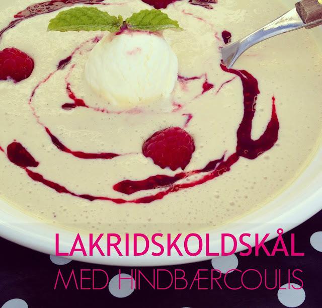 Lakridskoldskål med hindbærcoulis - sommeren bedste koldskål - mit livs kogebog