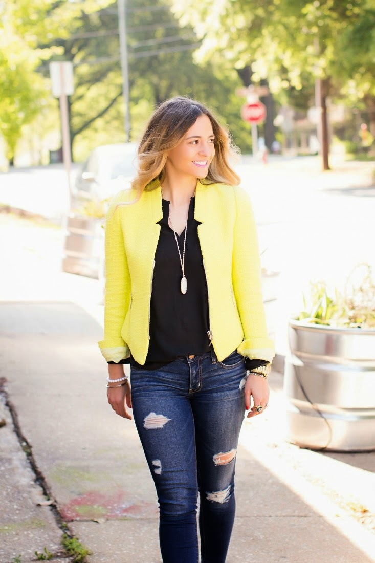 Zara yellow collarless jacket