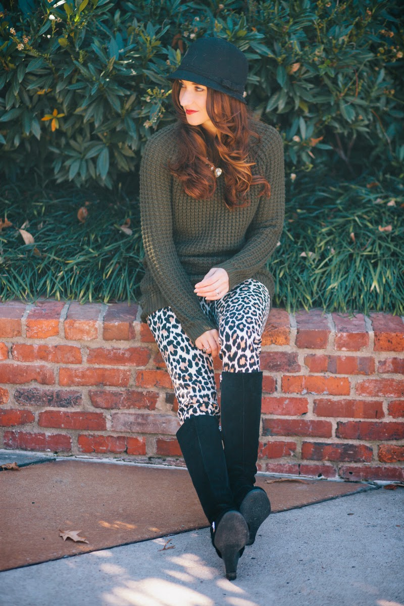 fall style, fall fashion 2014, fall fashion, leopard print jeans, kate spade jeans, hunter green sweater, baublebar gumdrop necklace, knee high suede boots, steve madden suede boots
