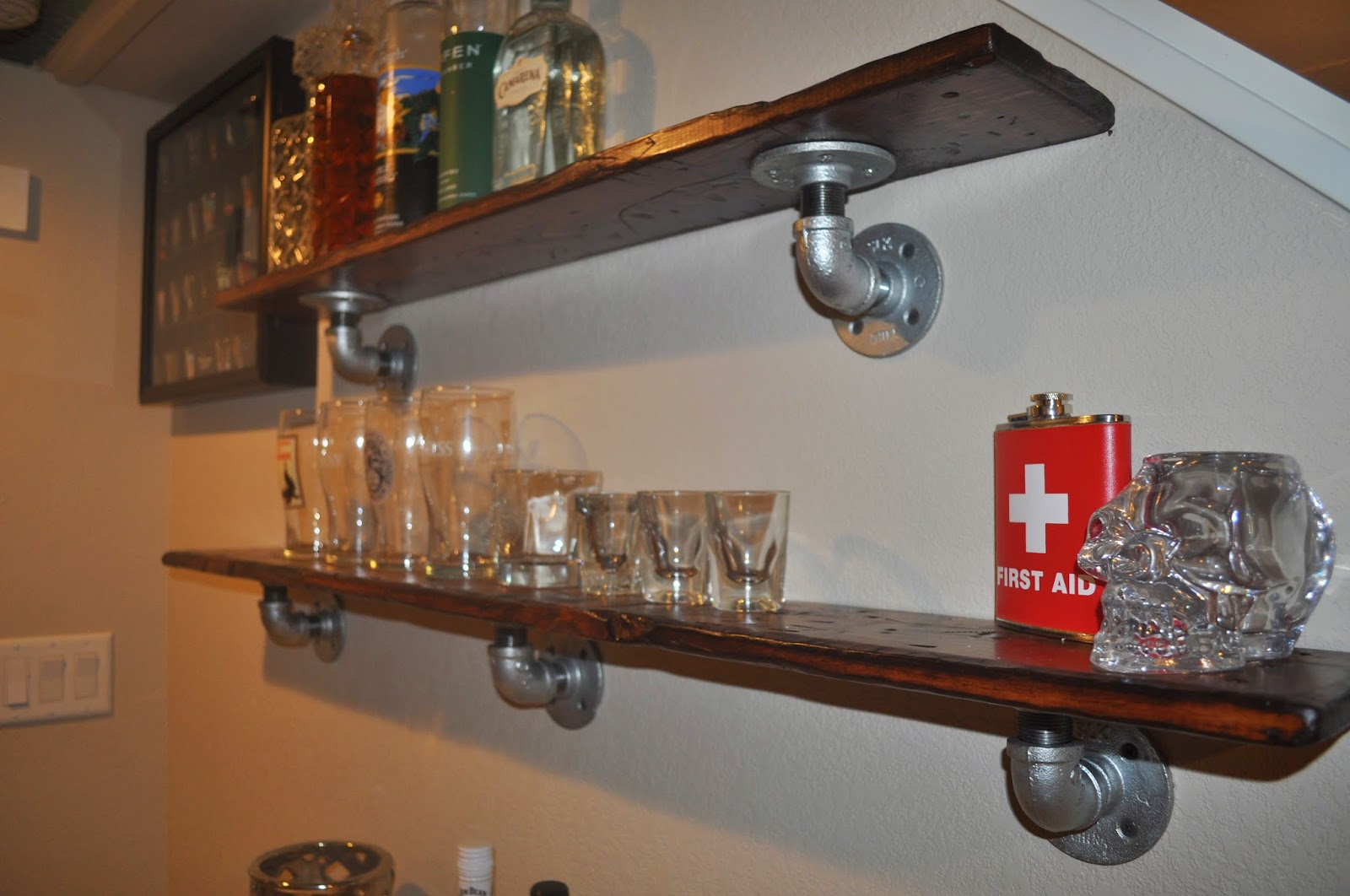 stress relief, diy, distressed, boards, basement, bar, basement bar, decor, diy shelving, shelving, industrial