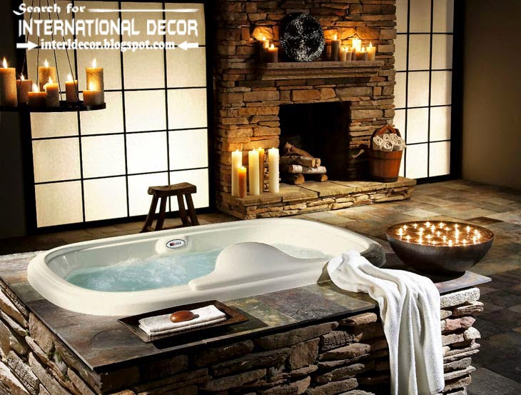 Cozy interior bathroom with fireplace designs for Luxury fireplace designs