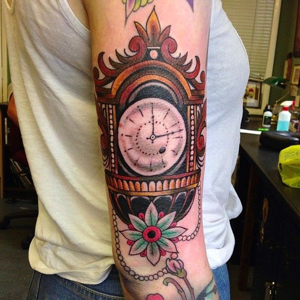 grandfather clock tattoo designs. Black Bedroom Furniture Sets. Home Design Ideas