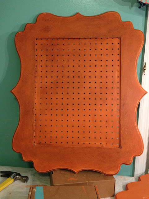 Peg board inserted into painted picture frames from Hobby Lobby.