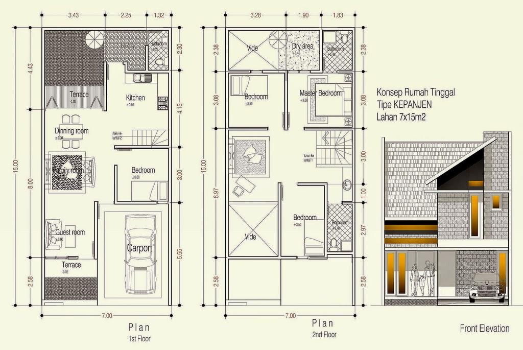denah rumah minimalis type 70