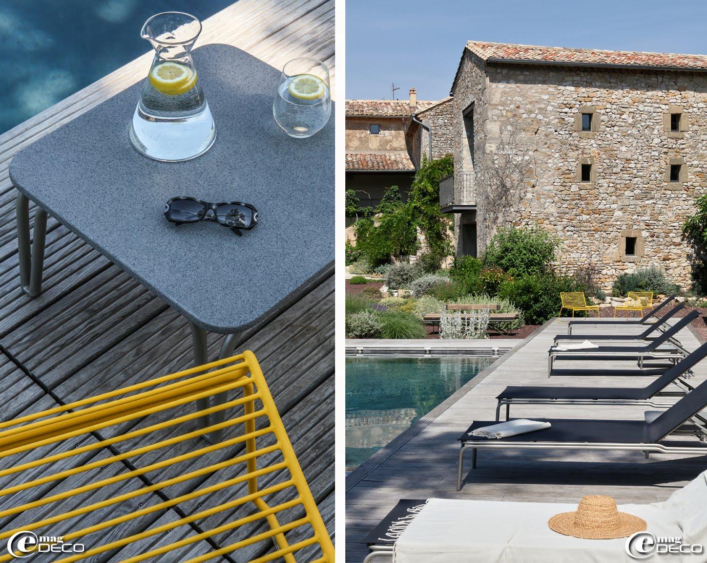 Fauteuils bas en fil d'acier inoxydable designés par Hee Welling pour HAY, La Maison d'Ulysse, maison d'hôtes à Baron dans le Gard