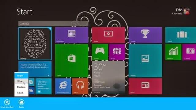Cara Untuk Mengubah Ukuran Tile Aplikasi Start Screen Pada Windows 8.1