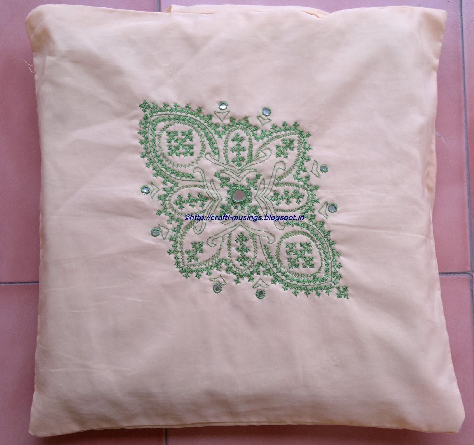 Crafti musings kutchwork cushions