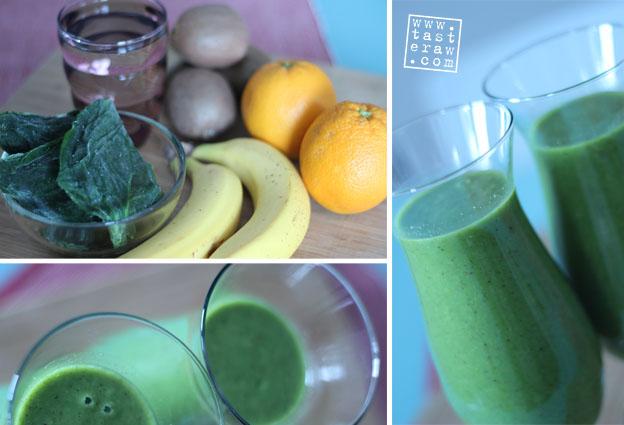 smoothie, raw, presno, banana, orange, kiwi, spinach