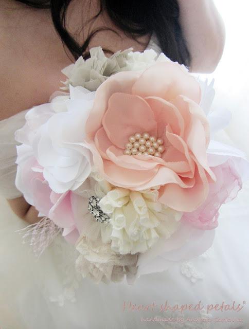 shabby chic bridal bouquet fabric