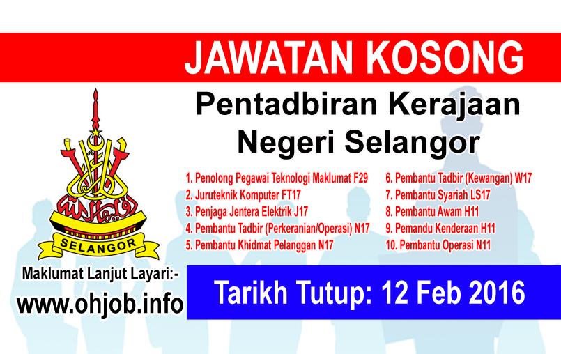 Jawatan Kerja Kosong Pentadbiran Kerajaan Negeri Selangor logo www.ohjob.info februari 2016