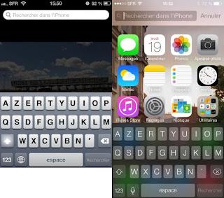 A gauche, l'iOS 6. A droite, l'iOS 7