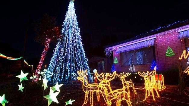 Casa con arbol y renos de navidad