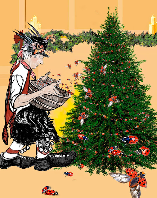 decorating the christmas tree showing a morris man fairy