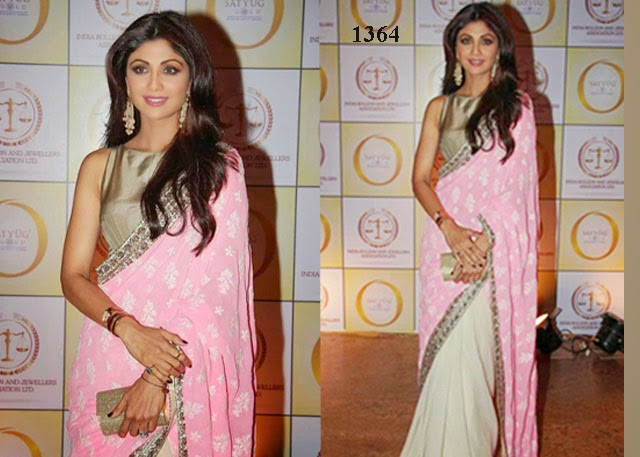 1364 - Indian Actress Shilpa Shetty pretty in half and half saree at Satyug Gold Event