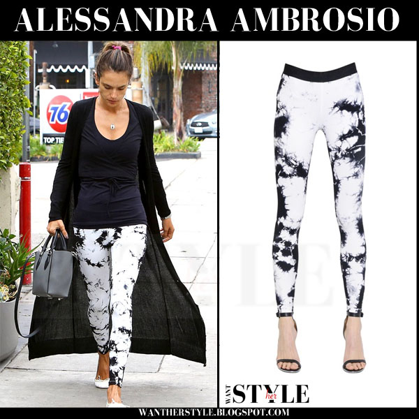 Alessandra Ambrosio in long black cardigan and white tie dyed david lerner leggings what she wore