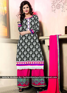 Beigish Green Pure Cotton Palazzo Suits / Black Double Bottom Printed Shalwar And Palazzo
