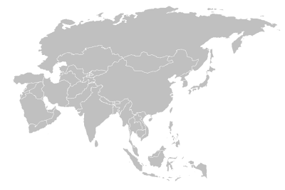 Gray blank Asia map