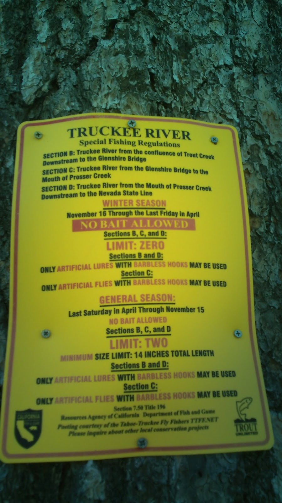Scott hopper 39 s blog truckee river fishing regulations for Fishing license requirements