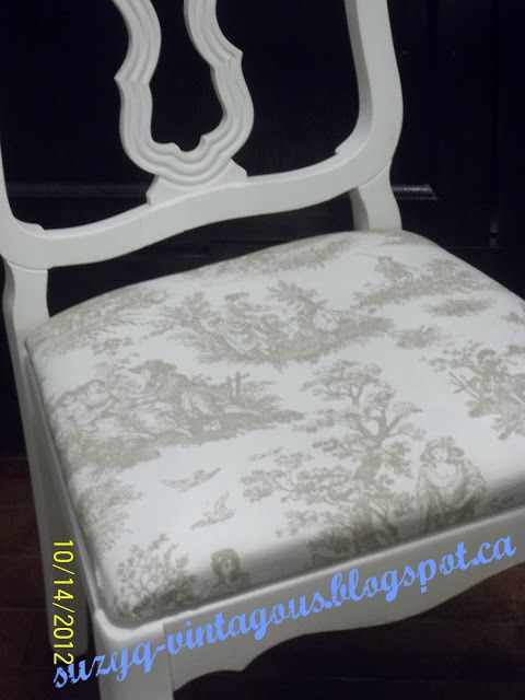 Toile Recovered Chair from Setting for Four #Toile #Chair #Recovered