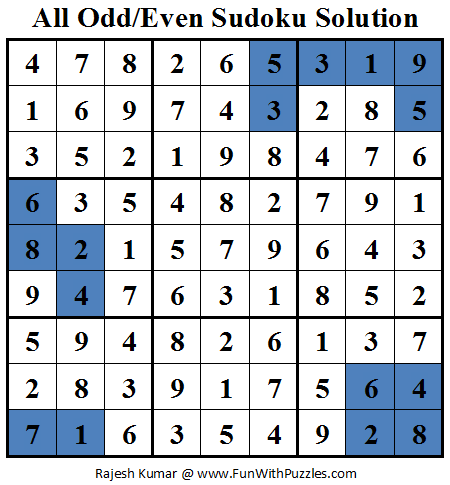 All Odd/Even Sudoku (Daily Sudoku League #78) Solution