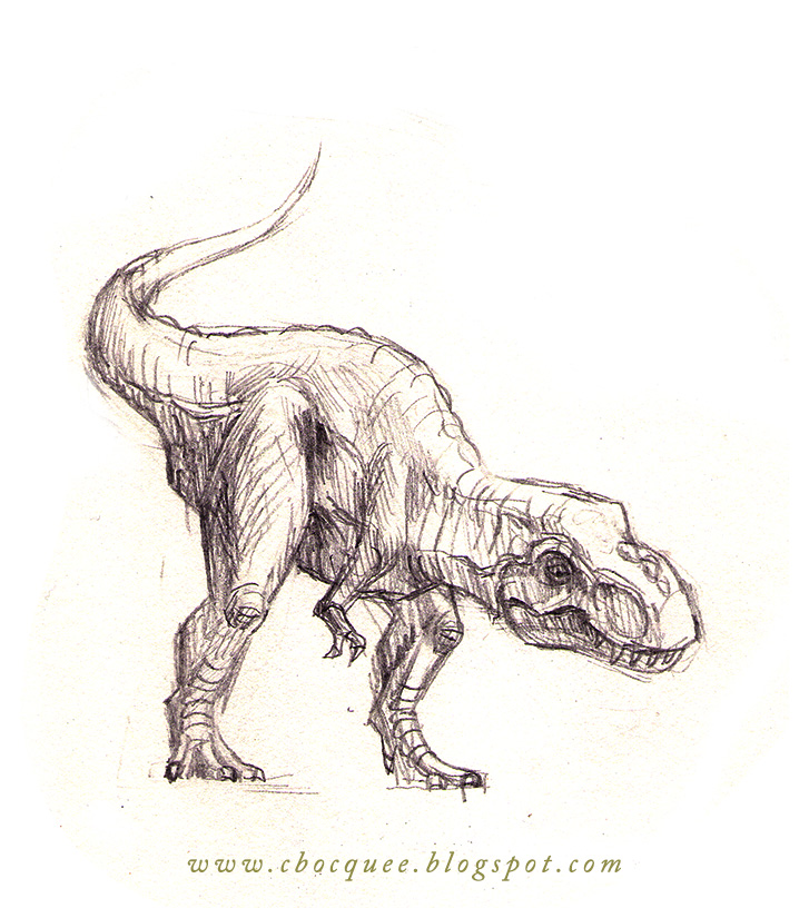 tyrannosaurus rex illustration done in pencil