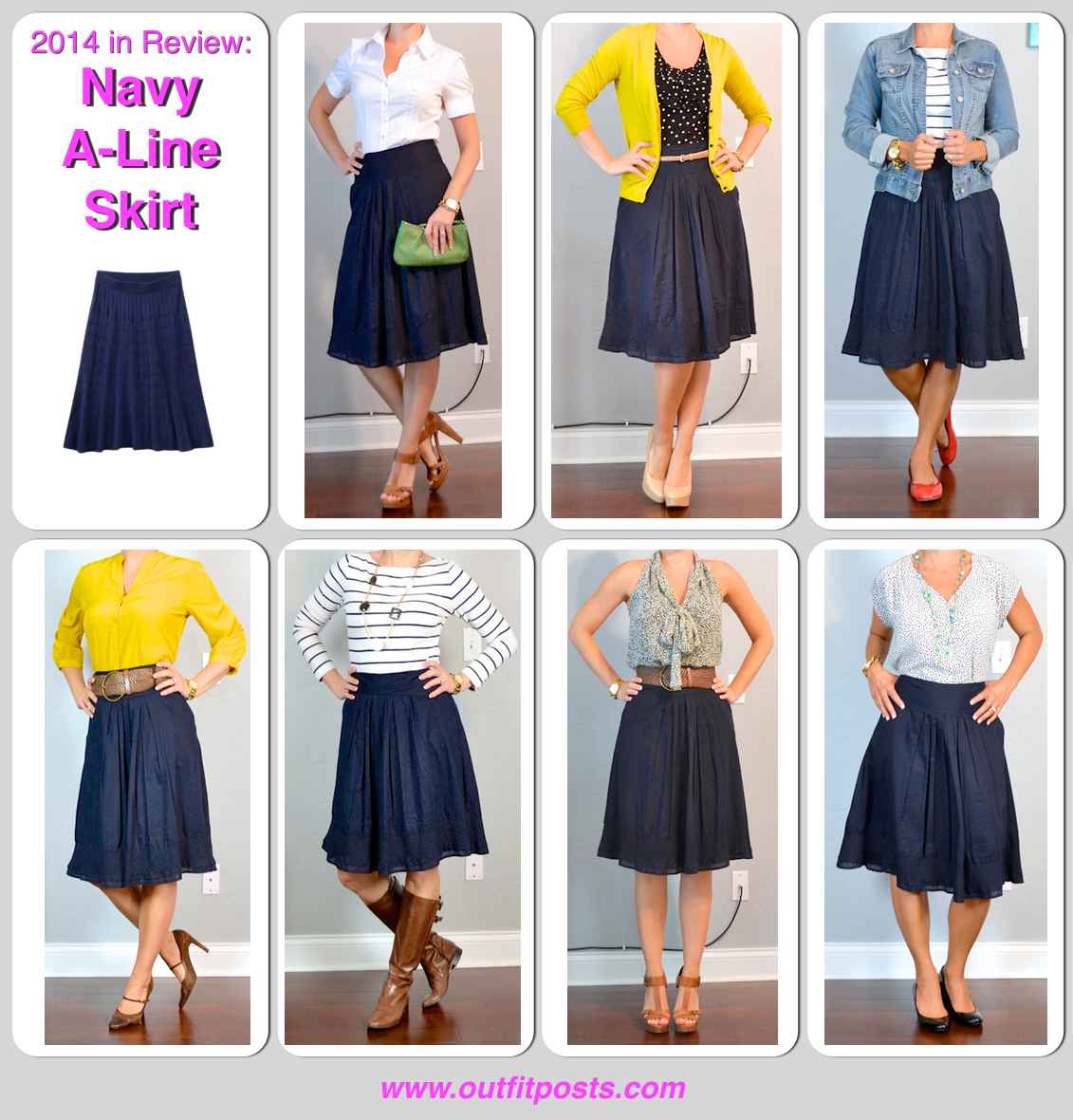 2014 in review - outfit posts: navy a-line skirt - 7 ways | Outfit ...