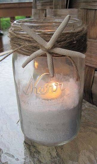 Mason Jar Beach Centerpieces : Beautiful bridal most mason jar centerpieces