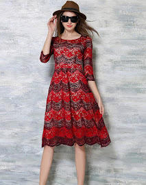 Three Quarter Sleeve Maroon Red Wave Pattern Lace Flare Dress