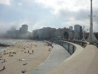 Playa de Riazor el viernes por la mañana.