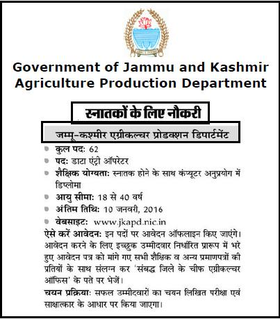 JKAPD 62 Data Entry Operator Job Opening For Graduates January 2016