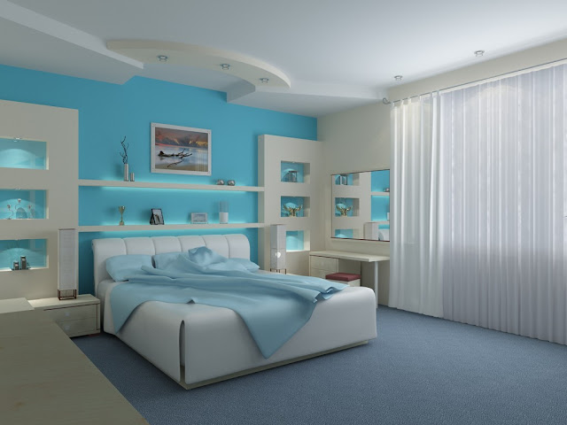 quarto de casal, branco e azul