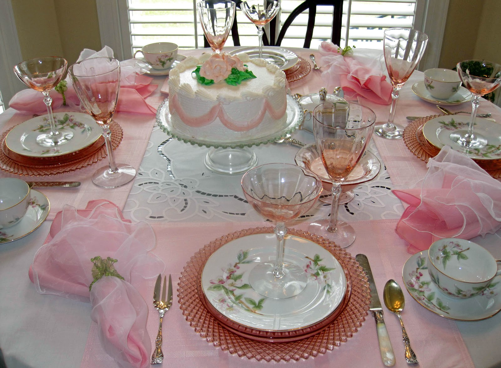 I Have Set A Table For Dessert And Coffee For Four And Pink Is The Color Of  The Day! I Began With A White Battenburg Tablecloth With Pink Placemats  Layered ...
