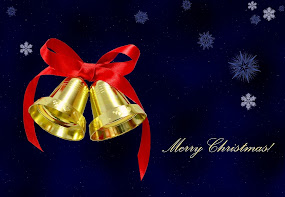 Christmas bells on blue background-wallpaper on http://colormagicphotography.com