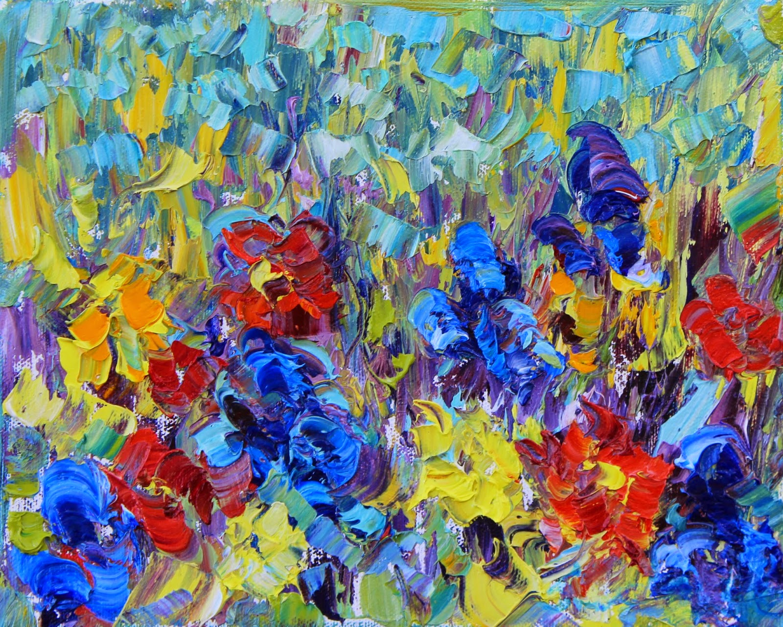 Daily painters abstract gallery abstract flowers palette for Abstract art flowers paintings