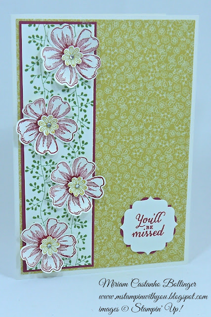 Miriam Castanho Bollinger, #mstampinwithyou, stampin up, demonstrator, ccmc, retirement, flower shop, bordering blooms, wild about flowers, boho blossoms, label bracket punch, su