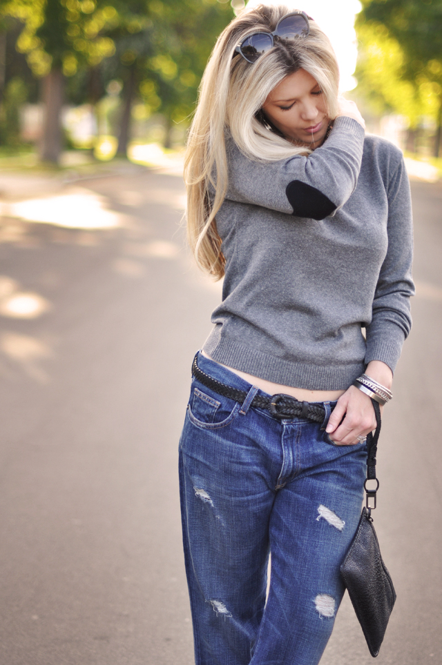 heart elbow patch sweater, boyfriend jeans