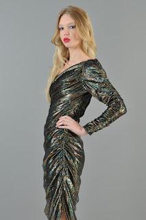 Vintage 1970's rainbow metallic draped asymmetrical disco dress