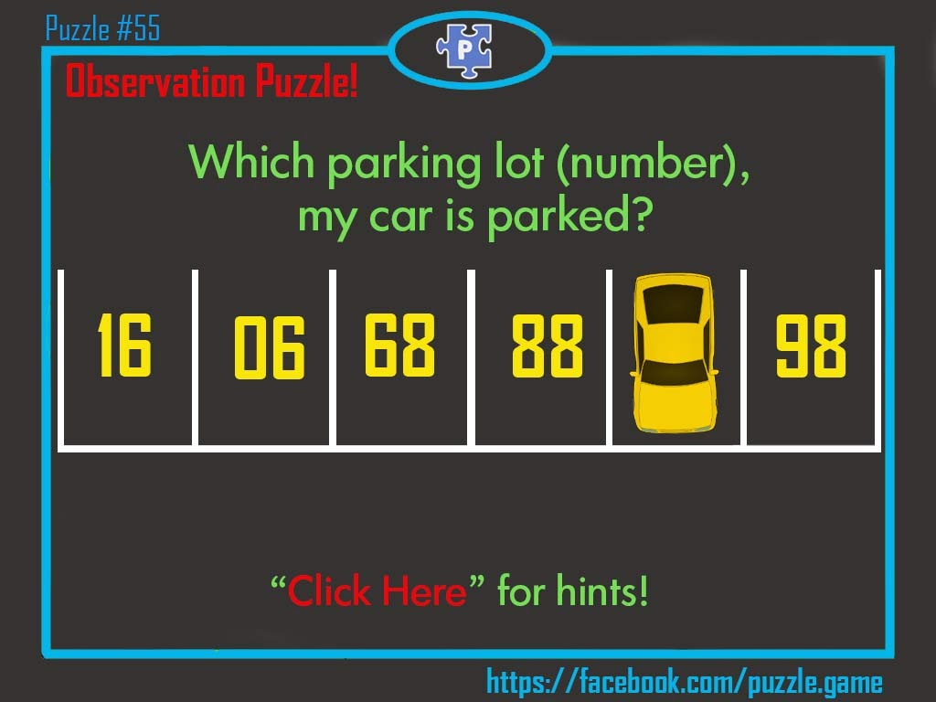 Puzzle What Is The Number Of Parking Lot Where My Car Parked