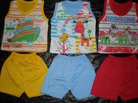 Baju bayi lengan Buntung untuk umur 1 tahun - 3 tahun