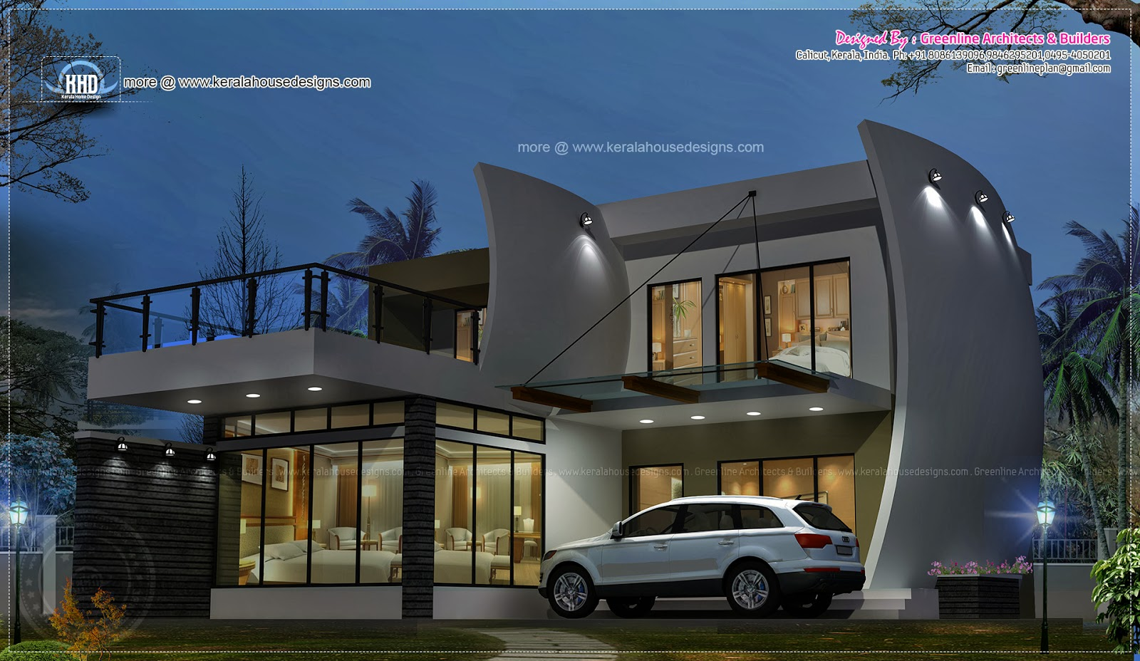 Awesome night view of unique contemporary house home Uniqe house