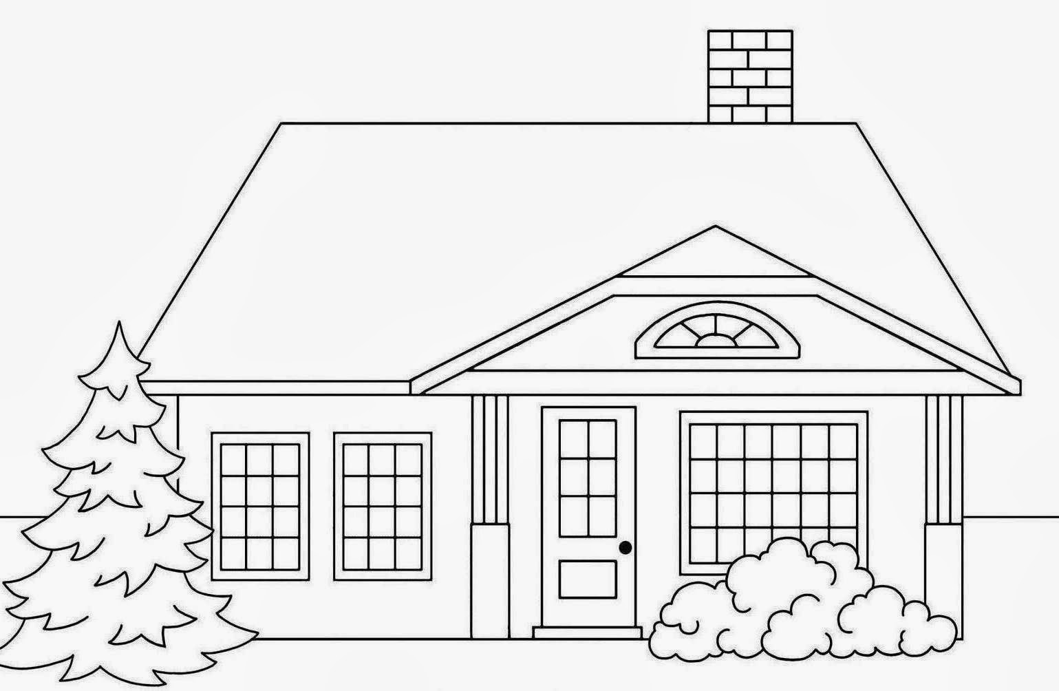 House Drawing For Colouring Modern House