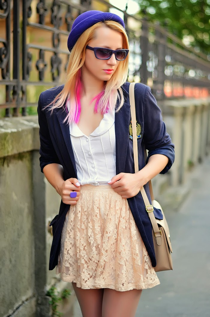 school girl outfit forever 21 lace skirt navy blazer