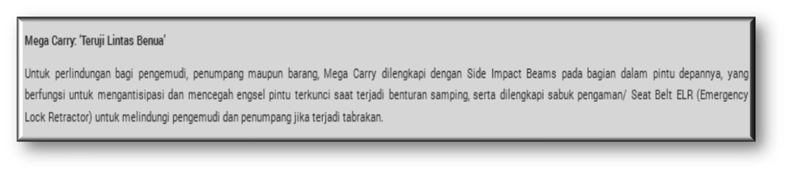 SUZUKI MEGA CARRY SAFETY FEATURE