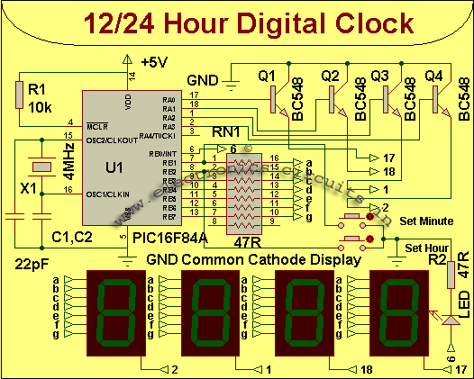 Circuit Diagram Electronic Circuit Diagram 12 Or 24 Hours Clock Rh Xemtuong  Us Digital Clock Circuit Project Led Digital Wall Clock Circuit Diagram